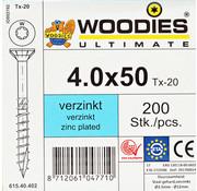 Woodies Ultimate Woodies schroeven 4.0x50 verzinkt T-20 deeldraad 200 stuks