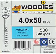 Woodies Ultimate Woodies schroeven 4.0x50 verzinkt T-20 deeldraad 500 stuks