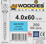 Woodies Ultimate Woodies schroeven 4.0x60 verzinkt T-20 deeldraad 200 stuks