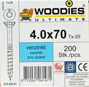 Woodies Ultimate Woodies schroeven 4.0x70 verzinkt T-20 deeldraad 200 stuks
