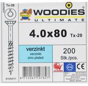 Woodies Ultimate Woodies schroeven 4.0x80 verzinkt T-20 deeldraad 200 stuks