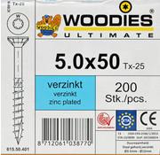 Woodies Ultimate Woodies schroeven 5.0x50 verzinkt T-25 deeldraad 200 stuks
