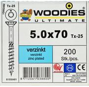 Woodies Ultimate Woodies schroeven 5.0x70 verzinkt T-25 deeldraad 200 stuks