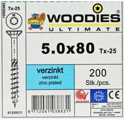 Woodies Ultimate Woodies schroeven 5.0x80 verzinkt T-25 deeldraad 200 stuks