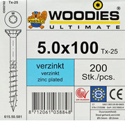 Woodies Ultimate Woodies schroeven 5.0x100 verzinkt T-25 deeldraad 200 stuks