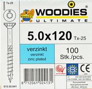 Woodies Ultimate Woodies schroeven 5.0x120 verzinkt T-25 deeldraad 100 stuks