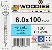 Woodies Ultimate Woodies schroeven 6.0x100 verzinkt T-30 deeldraad 100 stuks