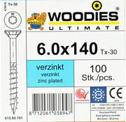 Woodies Ultimate Woodies schroeven 6.0x140 verzinkt T-30 deeldraad 100 stuks