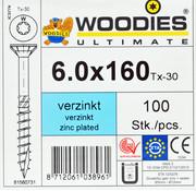 Woodies Ultimate Woodies schroeven 6.0x160 verzinkt T-30 deeldraad 100 stuks