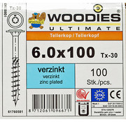 Woodies Ultimate Woodies tellerkopschroeven 6.0x100 verzinkt T-30 deeldraad 100 stuks