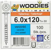Woodies Ultimate Woodies tellerkopschroeven 6.0x120 verzinkt T-30 deeldraad 100 stuks
