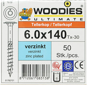 Woodies Ultimate Woodies tellerkopschroeven 6.0x140 verzinkt T-30 deeldraad 50 stuks