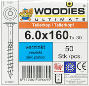 Woodies Ultimate Woodies tellerkopschroeven 6.0x160 verzinkt T-30 deeldraad 50 stuks