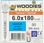Woodies Ultimate Woodies tellerkopschroeven 6.0x180 verzinkt T-30 deeldraad 50 stuks