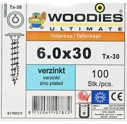 Woodies Ultimate Woodies tellerkopschroeven 6.0x30 verzinkt T-30 voldraad 100 stuks