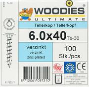 Woodies Ultimate Woodies tellerkopschroeven 6.0x40 verzinkt T-30 voldraad 100 stuks