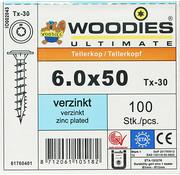 Woodies Ultimate Woodies tellerkopschroeven 6.0x50 verzinkt T-30 voldraad 100 stuks