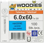 Woodies Ultimate Woodies tellerkopschroeven 6.0x60 verzinkt T-30 voldraad 100 stuks