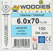 Woodies Ultimate Woodies tellerkopschroeven 6.0x70 verzinkt T-30 deeldraad 100 stuks