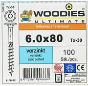 Woodies Ultimate Woodies tellerkopschroeven 6.0x80 verzinkt T-30 deeldraad 100 stuks