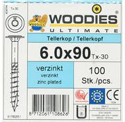Woodies Ultimate Woodies tellerkopschroeven 6.0x90 verzinkt T-30 deeldraad 100 stuks