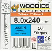 Woodies Ultimate Woodies tellerkopschroeven 8.0x240 verzinkt T-40 deeldraad 50 stuks