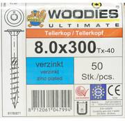 Woodies Ultimate Woodies tellerkopschroeven 8.0x300 verzinkt T-40 deeldraad 50 stuks