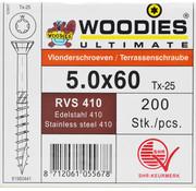 Woodies Ultimate Woodies vlonderschroeven 5.0x60 RVS 410 gehard T-25 deeldraad 200 stuks