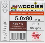 Woodies Ultimate Woodies vlonderschroeven 5.0x80 RVS 410 gehard T-25 deeldraad 200 stuks