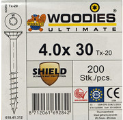 Woodies Ultimate Woodies schroeven 4.0 x 30 SHIELD T-20 deeldraad 200 stuks