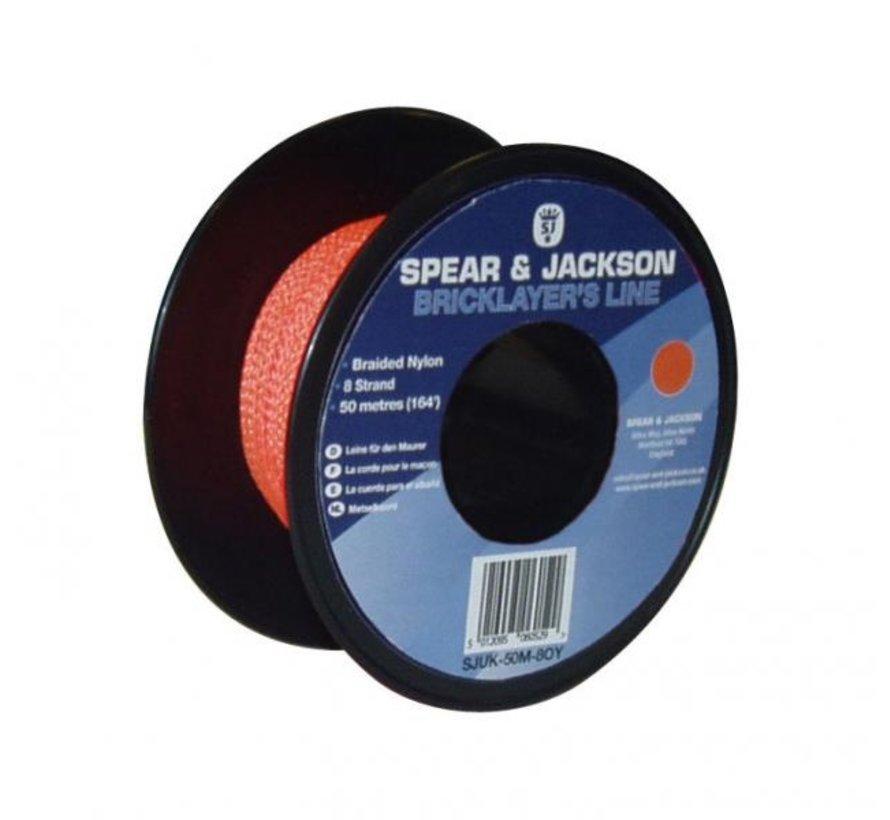 Metselkoord Spear & Jackson nylon Fluor Oranje rol 50m