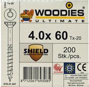 Woodies Ultimate Woodies schroeven 4.0 x 60 SHIELD T-20 deeldraad 200 stuks