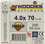 Woodies Ultimate Woodies schroeven 4.0 x 70 SHIELD T-20 deeldraad 200 stuks