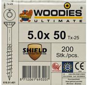 Woodies Ultimate Woodies schroeven 5.0 x 50 SHIELD T-25 deeldraad 200 stuks