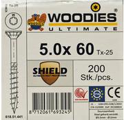 Woodies Ultimate Woodies schroeven 5.0 x 60 SHIELD T-25 deeldraad 200 stuks