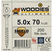 Woodies Ultimate Woodies schroeven 5.0 x 70 SHIELD T-25 deeldraad 200 stuks