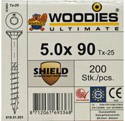 Woodies Ultimate Woodies schroeven 5.0 x 90 SHIELD T-25 deeldraad 200 stuks