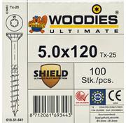 Woodies Ultimate Woodies schroeven 5.0 x 120 SHIELD T-25 deeldraad 100 stuks