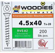 Woodies Ultimate Woodies scharnierschroeven 4.5x40 RVS A2 T-20 200 stuks