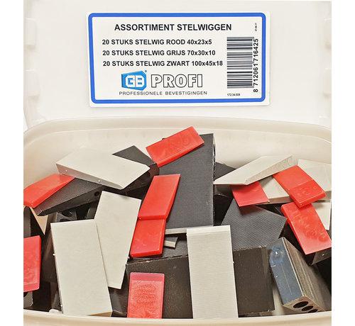 GB GB assortiment doos met kunststof stelwiggen 20x Rood, 20x Grijs en 20x Zwart