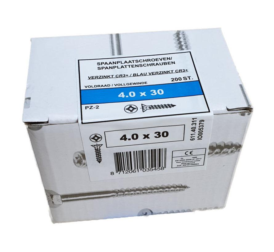 Fis spaanplaatschroef 4.0x30 VK PZD verzinkt 200 stuks