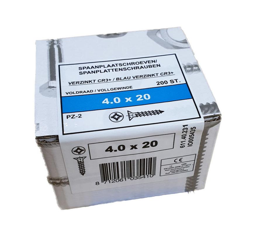 Fis spaanplaatschroef 4.0x20 VK PZD verzinkt 200 stuks