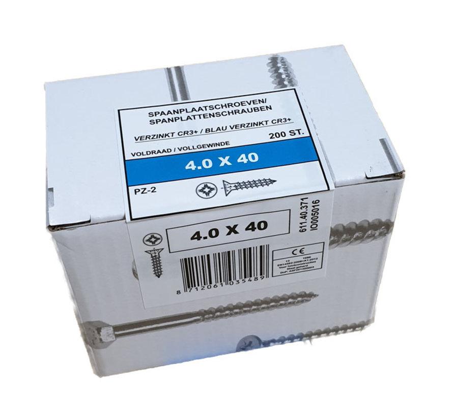 Fis spaanplaatschroef 4.0x40 VK PZD verzinkt 200 stuks