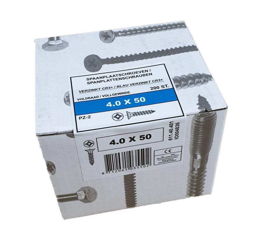 Fis spaanplaatschroef 4.0x50 VK PZD verzinkt 200 stuks