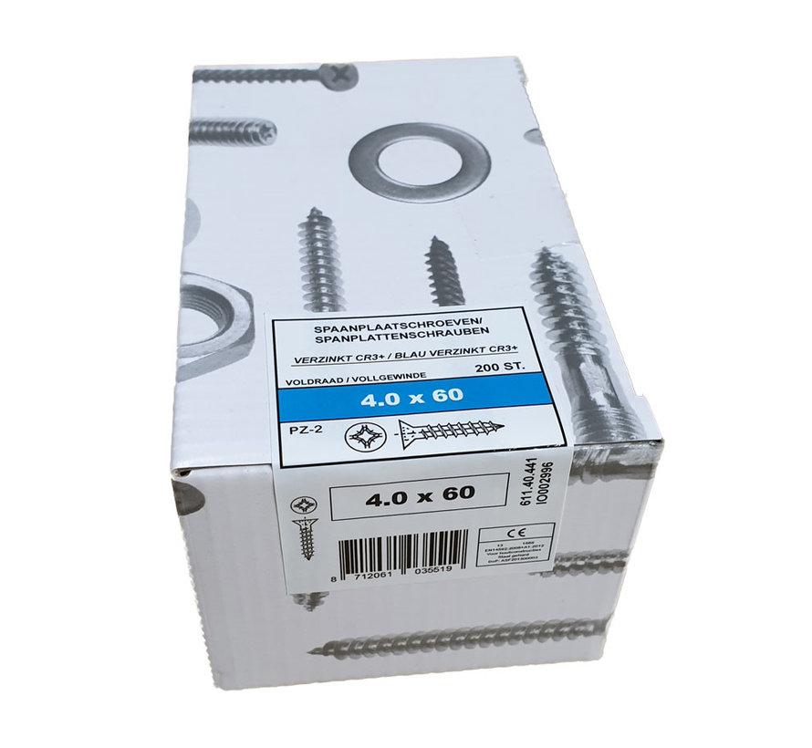Fis spaanplaatschroef 4.0x60 VK PZD verzinkt 200 stuks