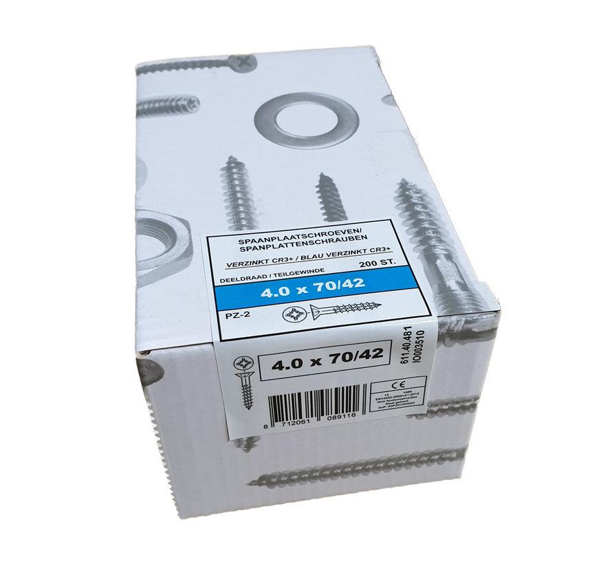Fis spaanplaatschroef 4.0x70 VK PZD verzinkt 200 stuks