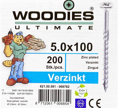 Woodies Ultimate Woodies schroeven 5.0x100 verzinkt PZD 2 deeldraad 200 stuks