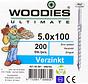 Woodies schroeven 5.0x100 verzinkt PZD 2 deeldraad 200 stuks