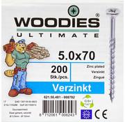 Woodies Ultimate Woodies schroeven 5.0x70 verzinkt PZD 2 deeldraad 200 stuks