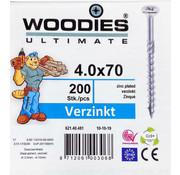 Woodies Ultimate Woodies schroeven 4.0x70 verzinkt PZD 2 deeldraad 200 stuks